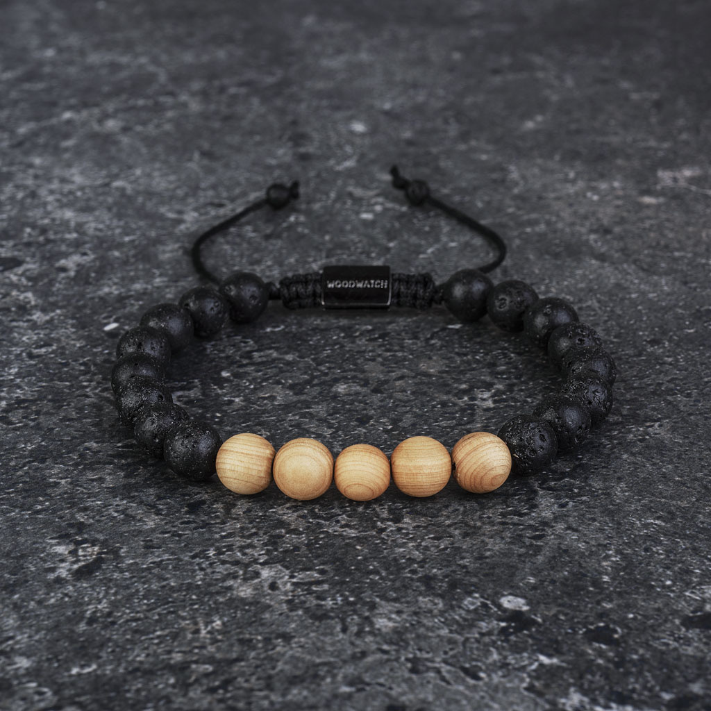 woodwatch men women wooden bracelet 8 mm diameter Pinewood Volcanic