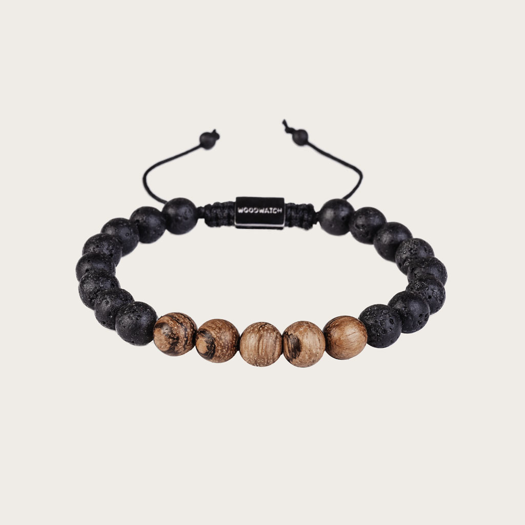 woodwatch men women wooden bracelet 8 mm diameter Sandalwood Volcanic