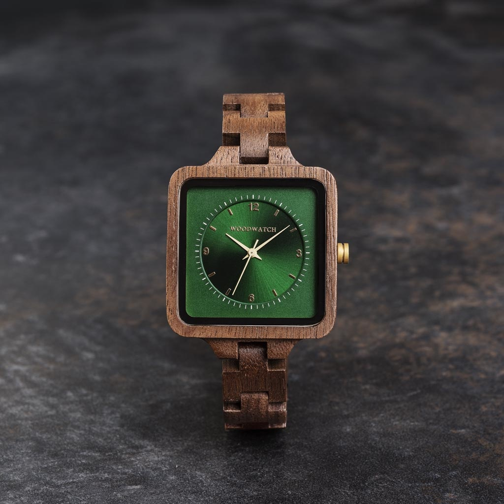 The Emerald Hill from the SQUARE Collection features an exclusive 36mm square case combined with a green double layered dual dial. This uniquely designed watch consists of natural Walnut Wood from North America with golden details and is handcrafted to pe