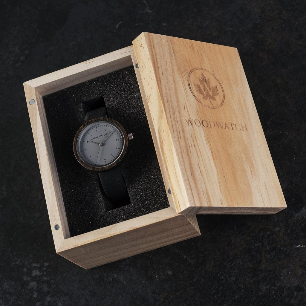 Inspired by contemporary Nordic minimalism. The NORDIC Helsinki features a 36mm diameter black sandalwood case with cool grey dial and silver details. Handmade from sustainably sourced wood combined with an ultra soft black leather strap.