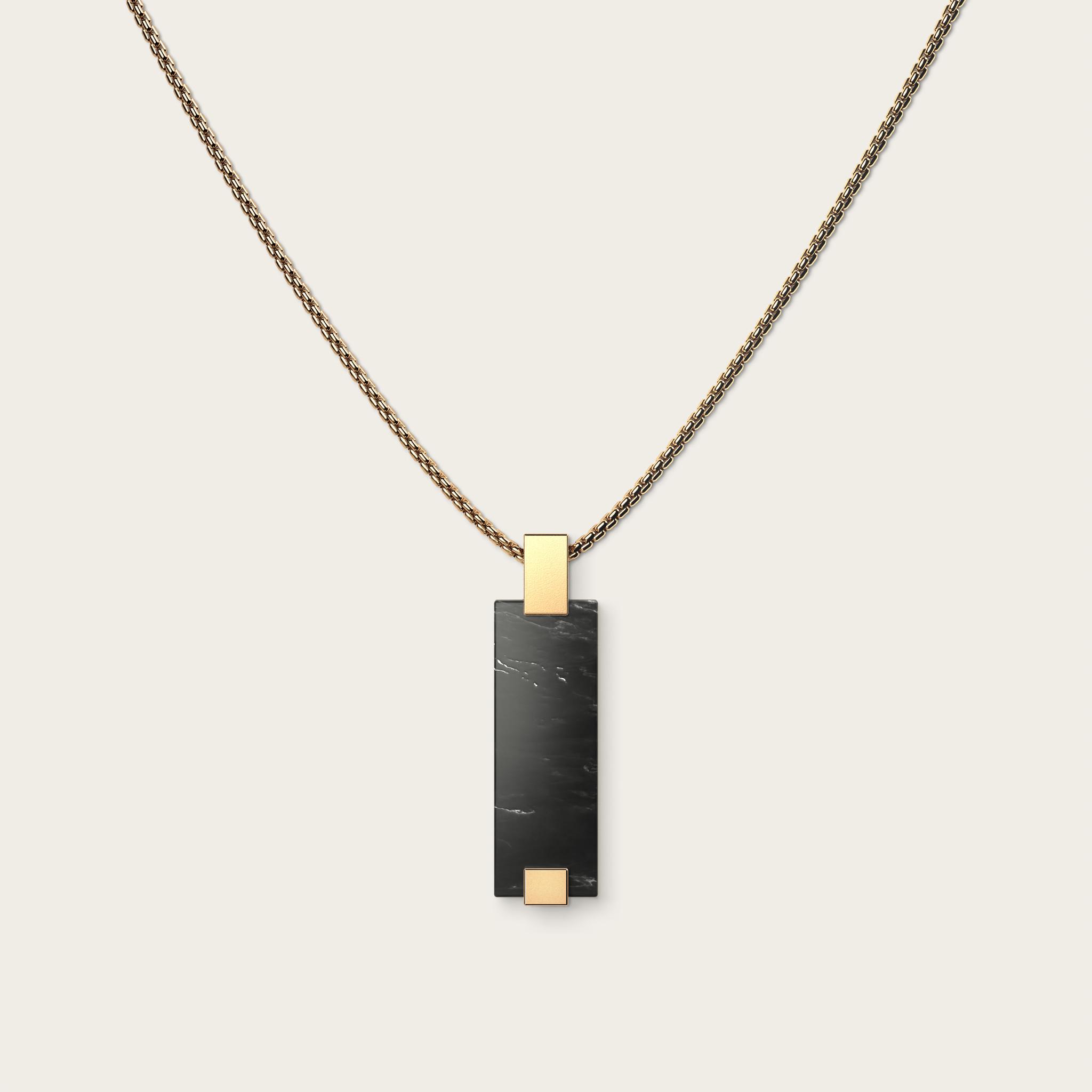 Vertical Black Marble & Gold