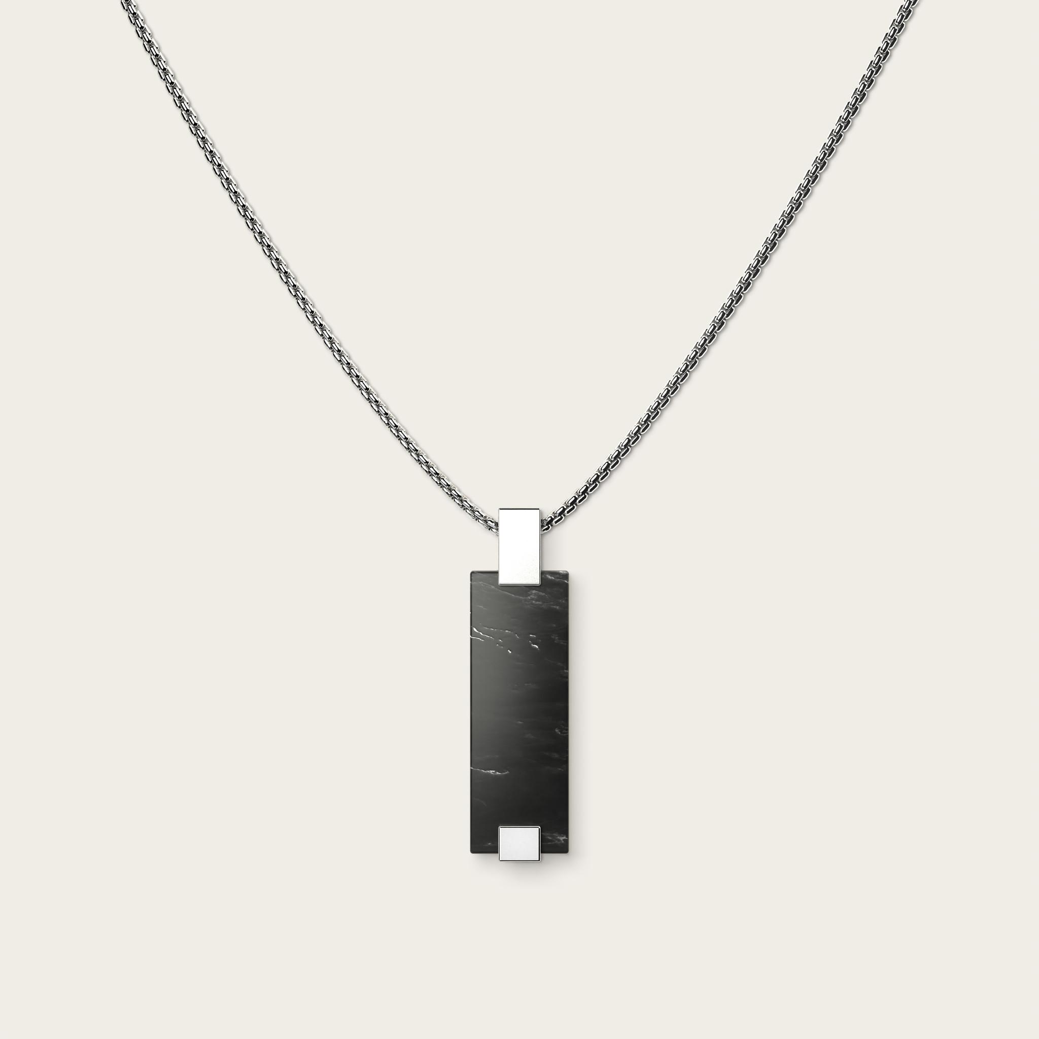 Vertical Black Marble & Silver
