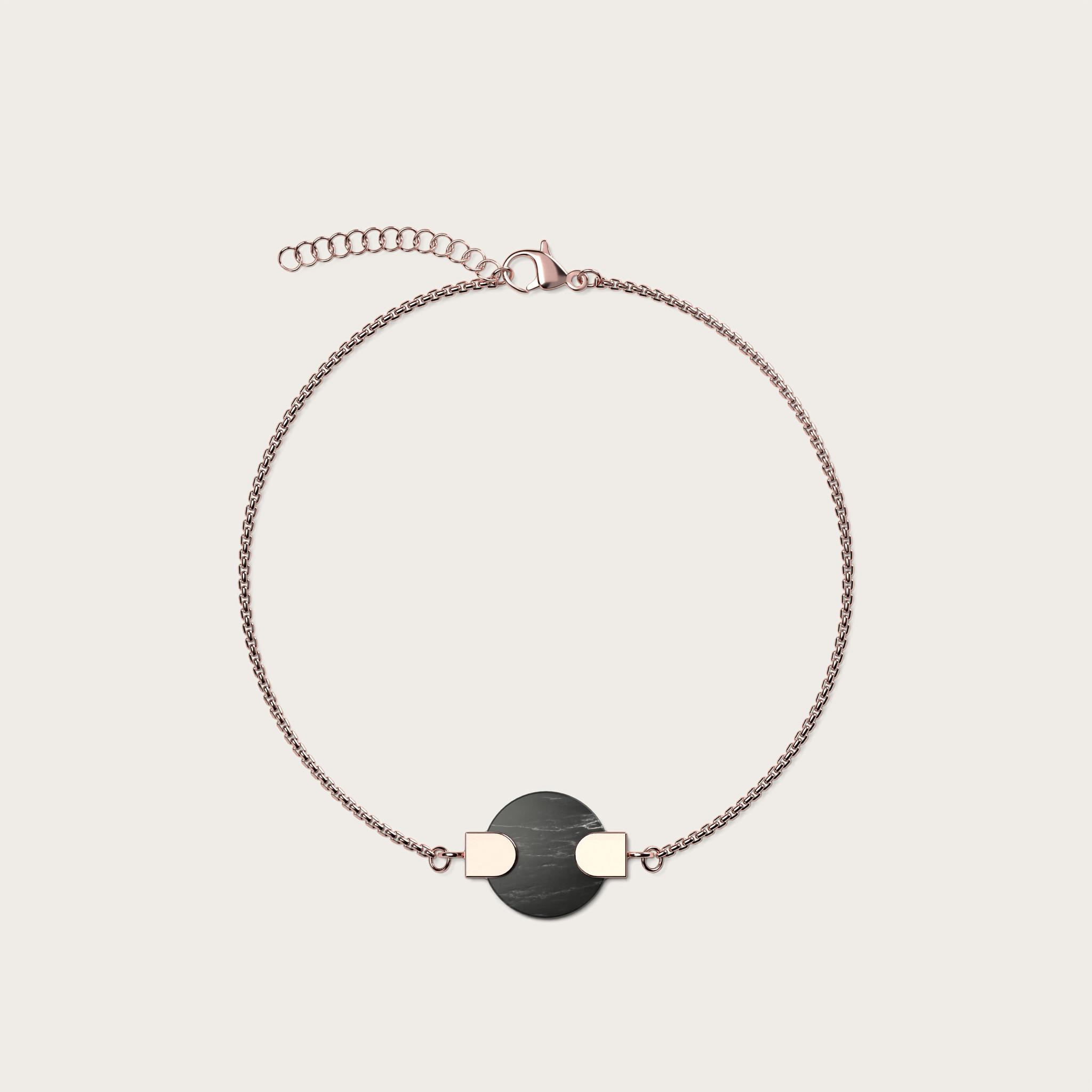 Circular Black Marble & Rosegold