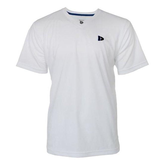Donnay Heren - V-neck Sport shirt (cool dry) - Wit/korenblauw