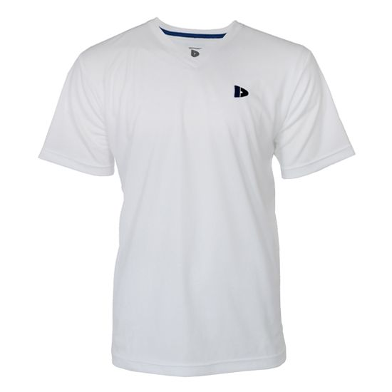 Donnay Donnay Heren - V-neck Sport shirt (cool dry) - Wit/korenblauw