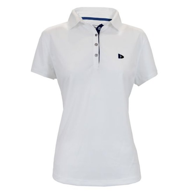 Donnay Dames - Sport polo (cool dry) - Wit/korenblauw