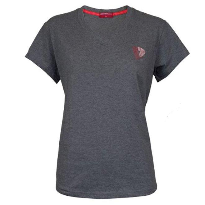 Donnay Dames - V-Neck T-Shirt - Donkergrijs gemêleerd