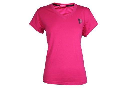 Donnay Donnay V-Neck T-Shirt Dames - Donker roze