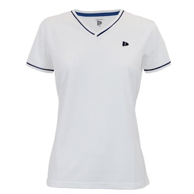 Donnay Dames - V- Neck sportshirt (cool dry) - Wit/korenblauw