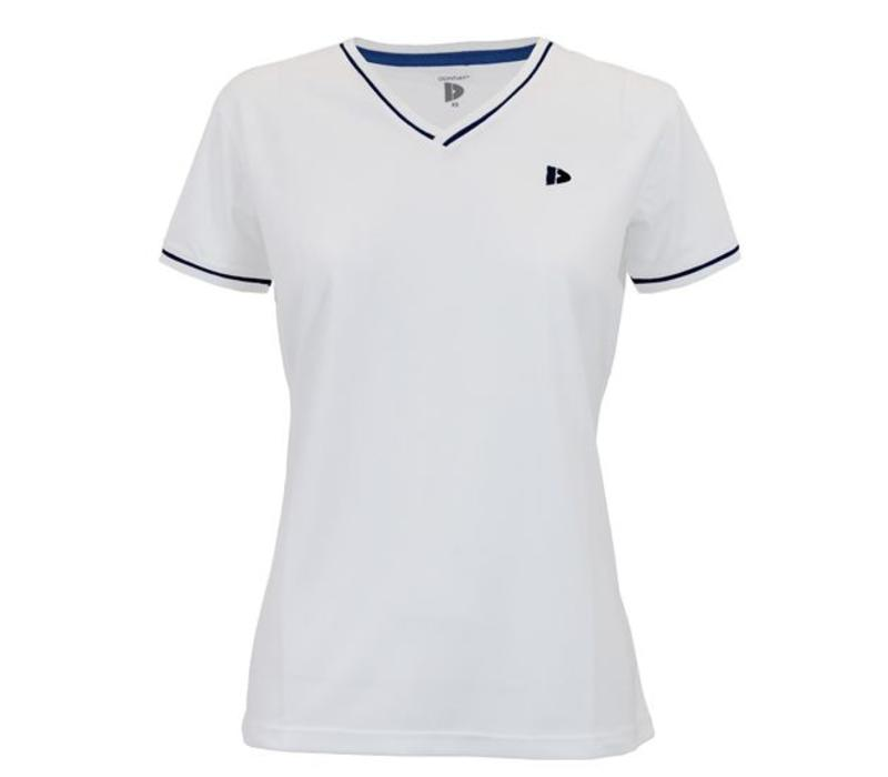Donnay V- Neck sportshirt (cool dry) - Dames - Wit/Korenblauw