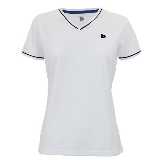 Donnay Donnay Dames - V- Neck sportshirt (cool dry) - Wit/korenblauw