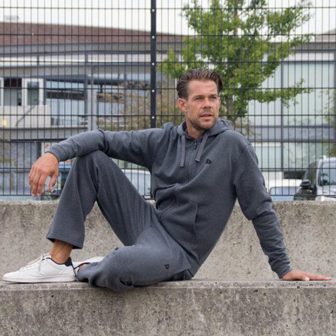 Donnay Heren - Joggingbroek rechte pijp Wess - Donkergrijs gemêleerd