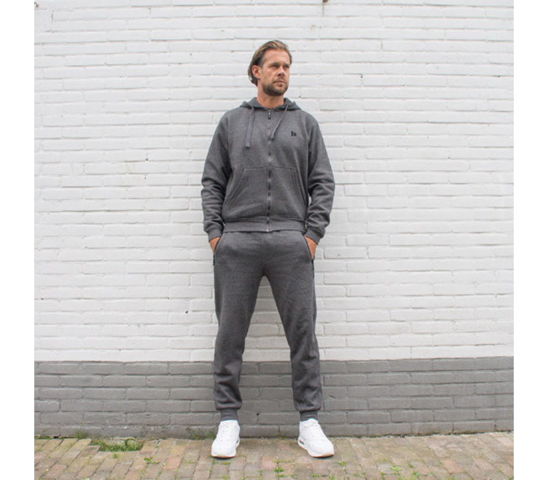 Donnay Joggingbroek (zakken met rits) - Donker grijs gemêleerd