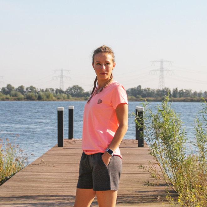 Donnay Dames - Korte Joggingbroek Romy - Donkergrijs gemêleerd