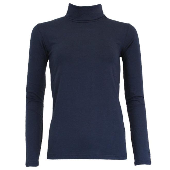 Campri Dames - Skipully - shirt met col - Donkerblauw