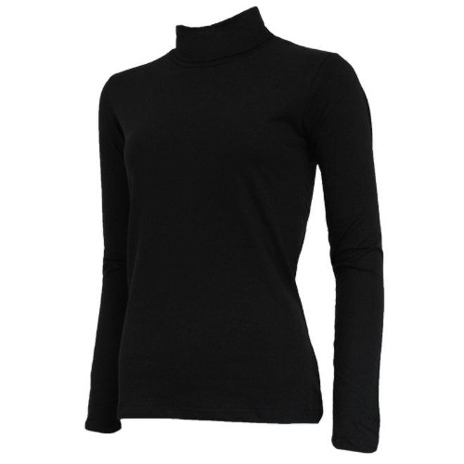 Campri Dames - Skipully - shirt met col - Zwart