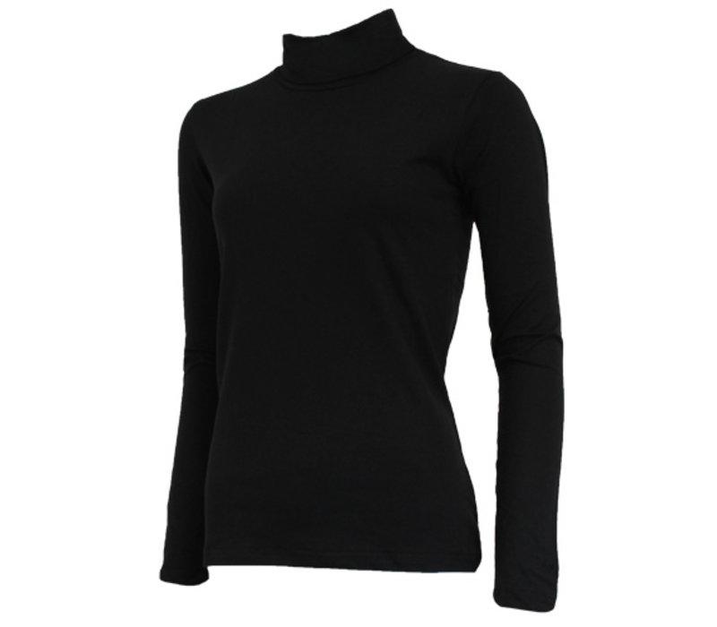 Campri Dames Skipully - shirt met col - Zwart