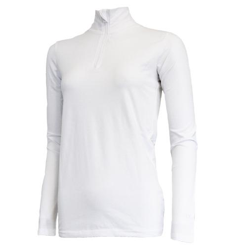 Campri Campri Dames - Skipully 1/4 rits - shirt met col - Wit