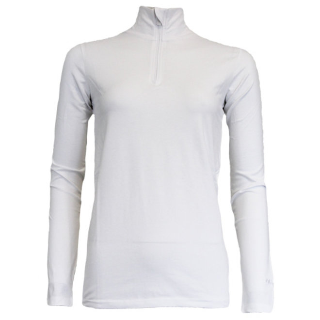 Campri Dames - Skipully 1/4 rits - shirt met col - Wit