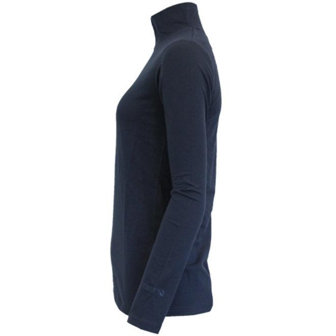 Campri Dames - Skipully 1/4 rits - shirt met col - Donkerblauw