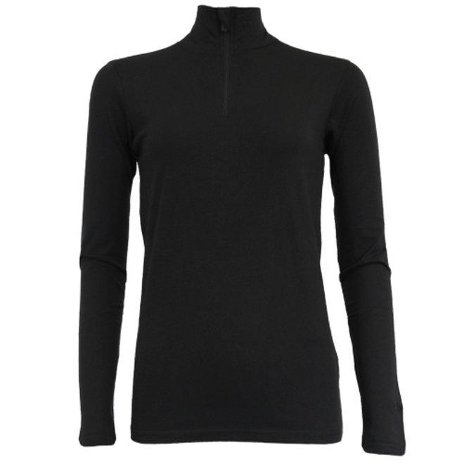 Campri Dames - Skipully 1/4 rits - shirt met col - Zwart