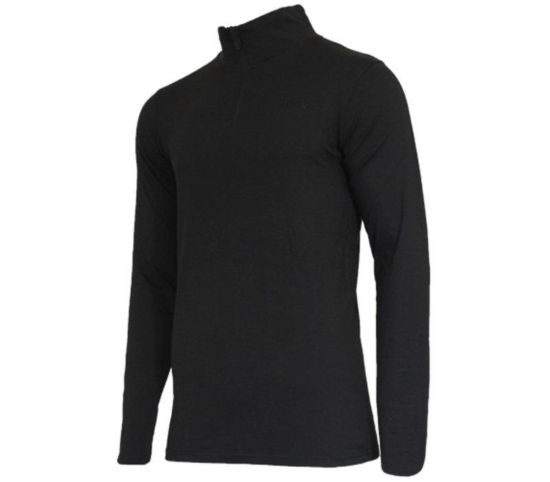 Campri Heren Skipully 1/4 rits - shirt met col - Zwart