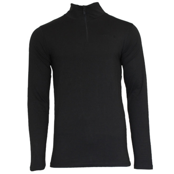 Campri Heren - Skipully 1/4 rits - shirt met col - Zwart