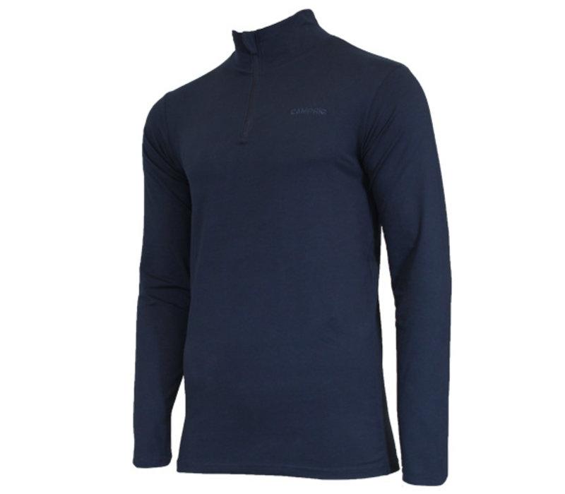 Campri Heren Skipully 1/4 rits - shirt met col - Donkerblauw