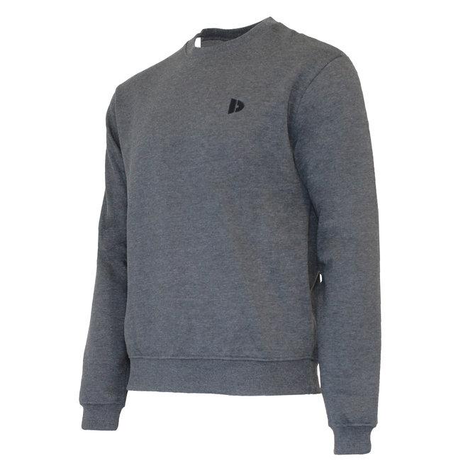Donnay Heren - Fleece Crew Sweater Dean - Donkergrijs gemêleerd