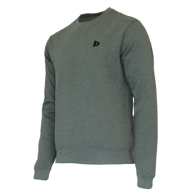 Donnay Heren - Fleece Crew Sweater Dean - Legergroen gemêleerd