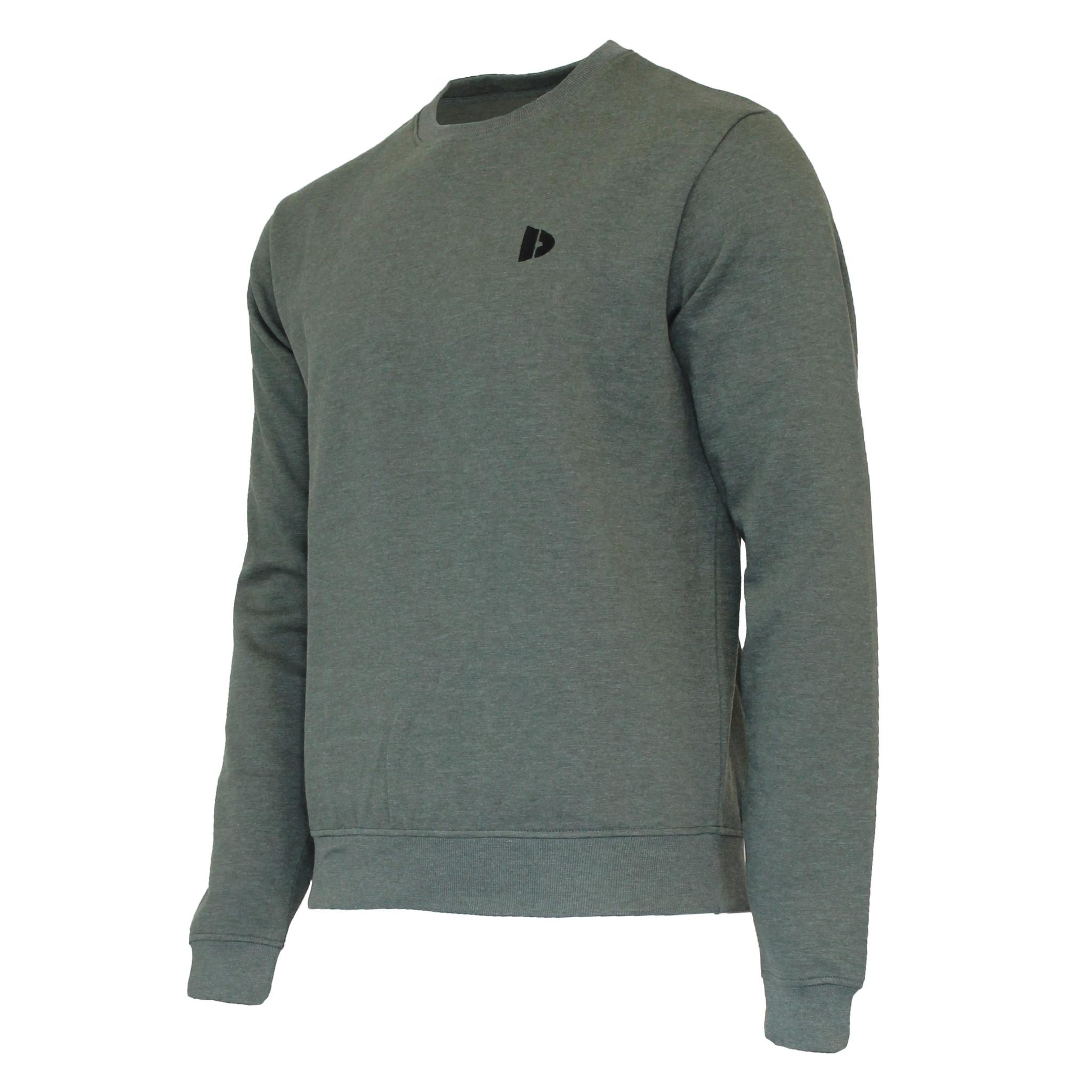 Donnay Donnay Heren - Fleece Crew Sweater Dean - Legergroen gemêleerd