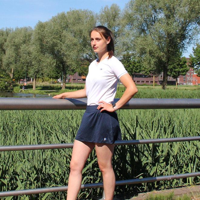 Donnay Dames - V- Neck sportshirt (cool dry) - Wit/korenblauw
