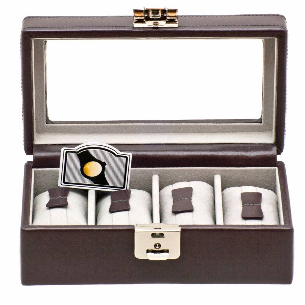 Horlogebox 4 pcs met venster grijs
