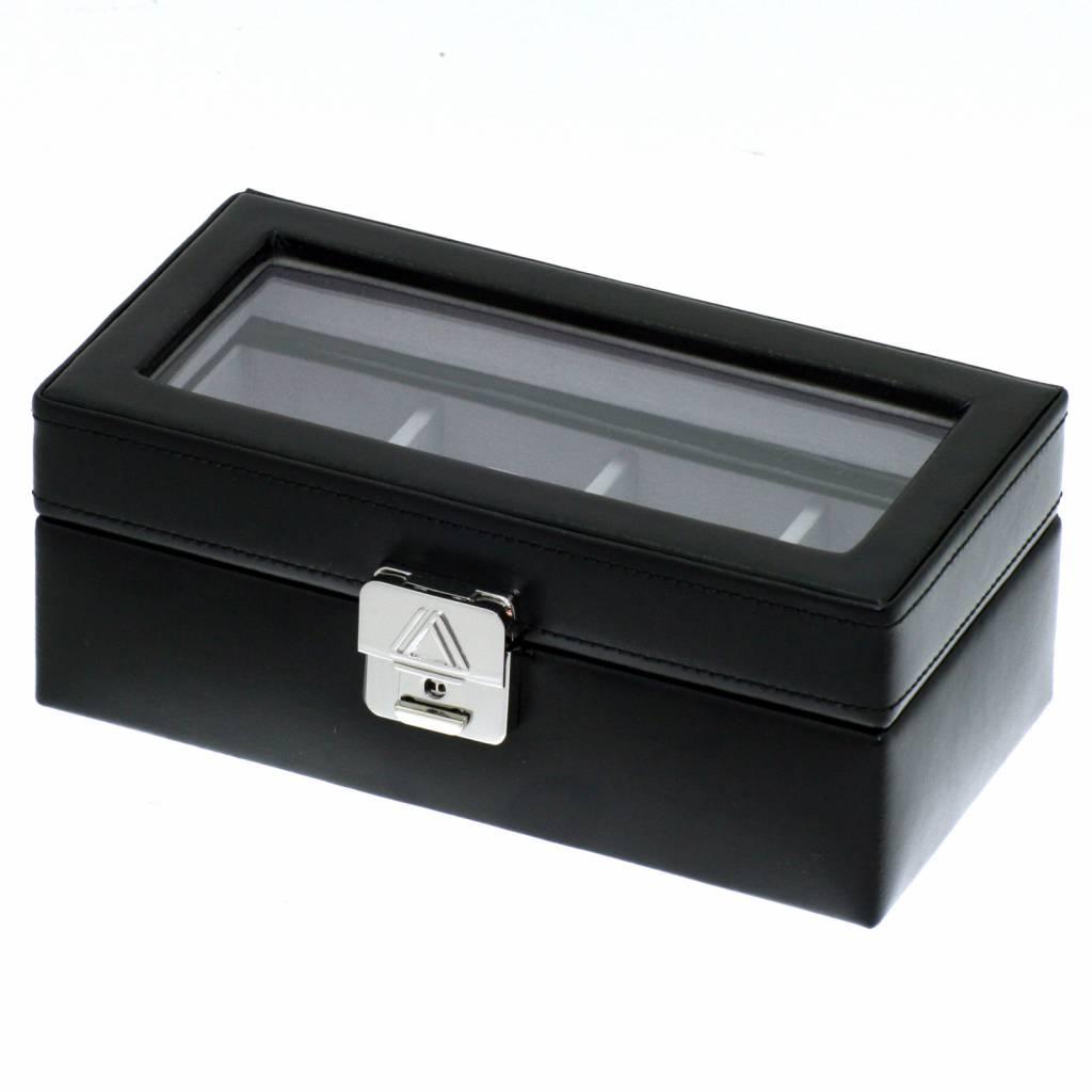 Horlogedoos 4 pcs met venster zwart