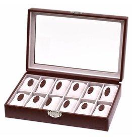 Davidts Uhrenbox für 12 Uhren mit Fenster Braun