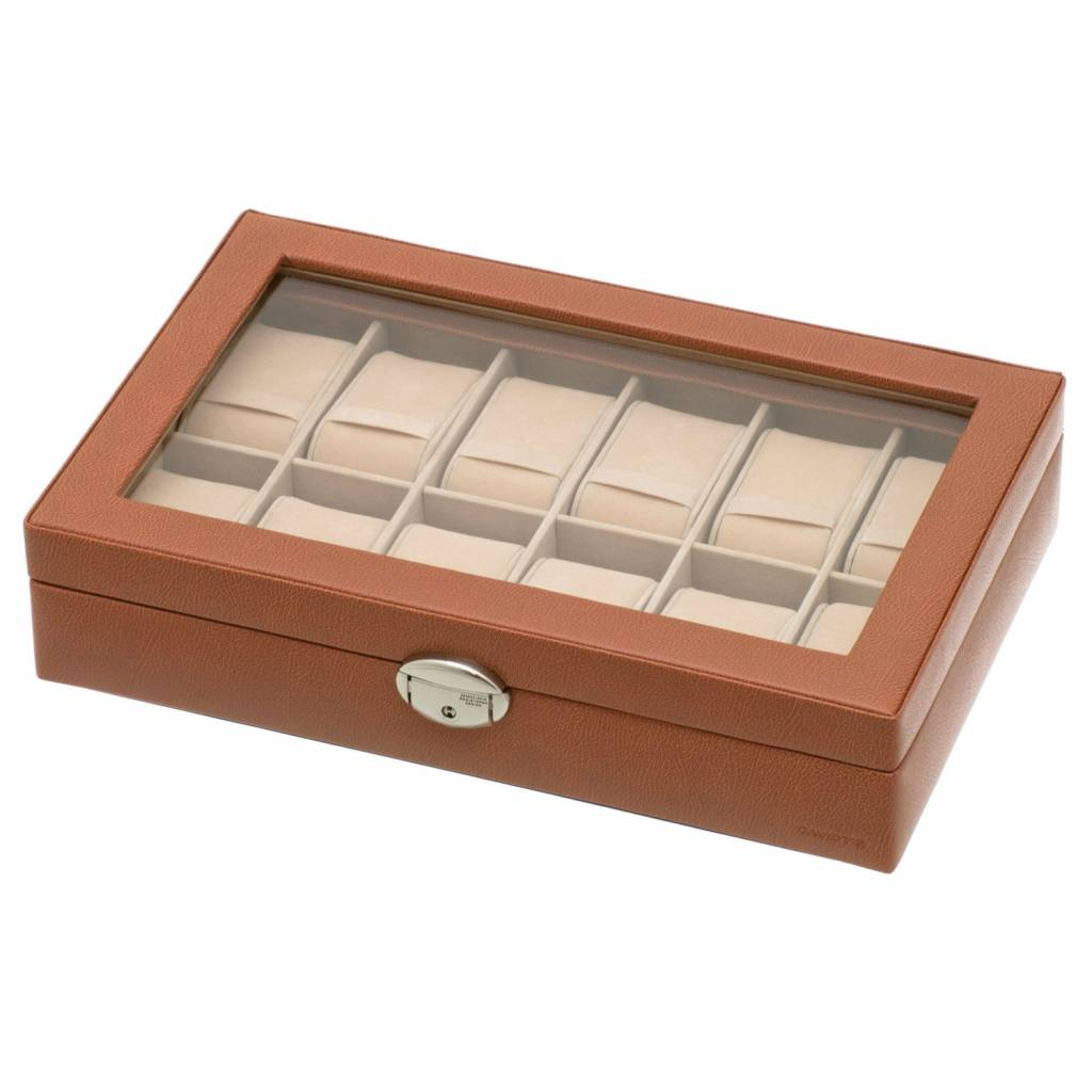 Uhrenbox für 12 Uhren mit Fenster Cognac