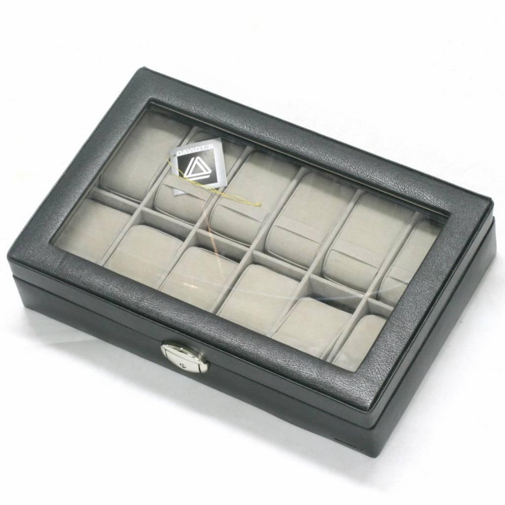 Uhrenbox für 12 Uhren mit Fenster Schwarz