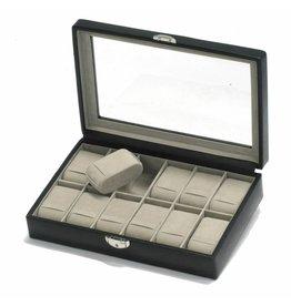 Davidts Uhrenbox für 12 Uhren mit Fenster Schwarz