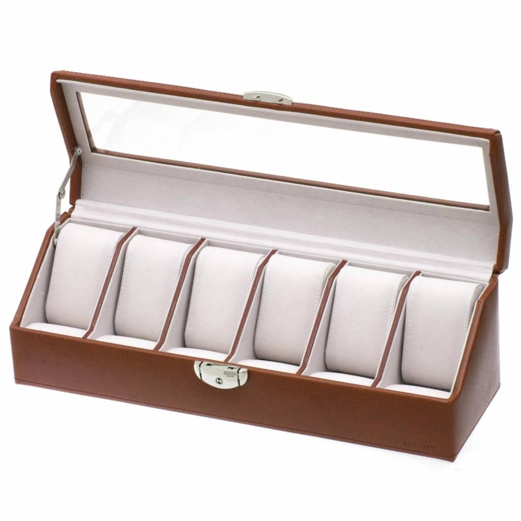 Boîte de Montre Pour 6 Montres Cognac
