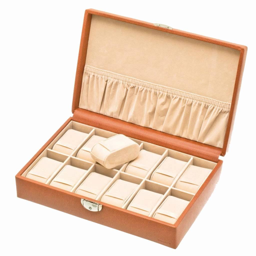 Uhrenbox für 12 Uhren Cognac