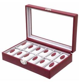 Davidts Uhrenbox für 12 Uhren mit Fenster Rot
