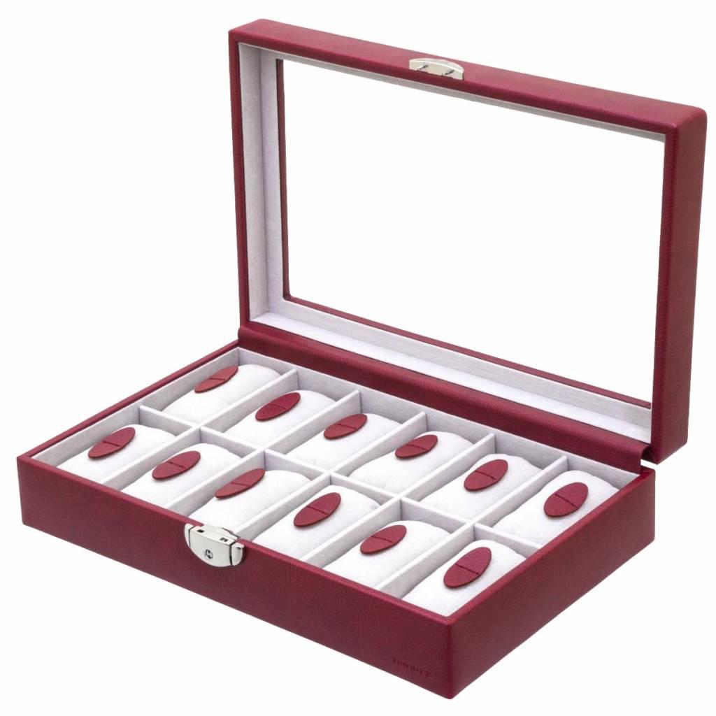 Uhrenbox für 12 Uhren mit Fenster Rot