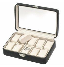 Davidts Uhrenbox Caiman für 10 Uhren mit Fenster Schwarz