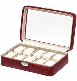 Davidts Uhrenbox Caiman für 10 Uhren mit Fenster Rot