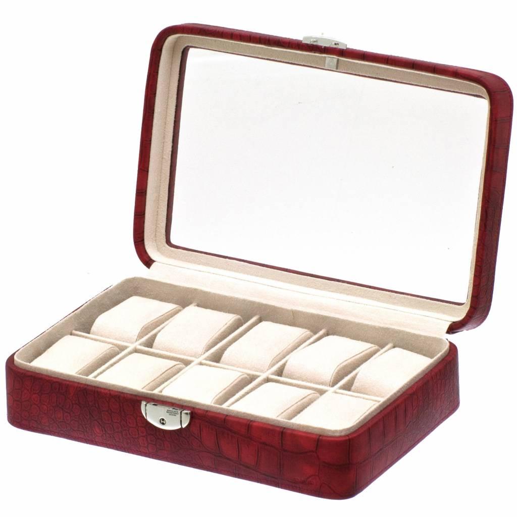 Uhrenbox Caiman für 10 Uhren mit Fenster Rot