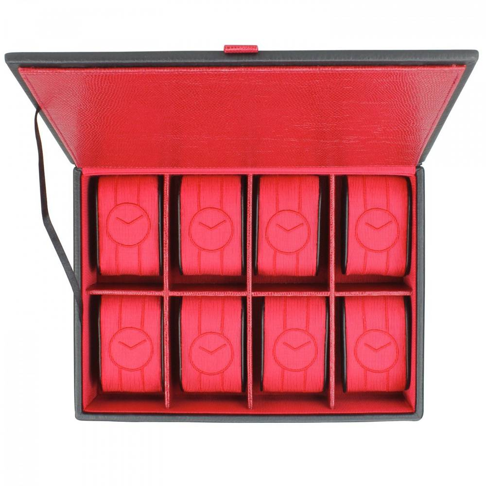 Horlogebox 8 pcs Zwart Rood