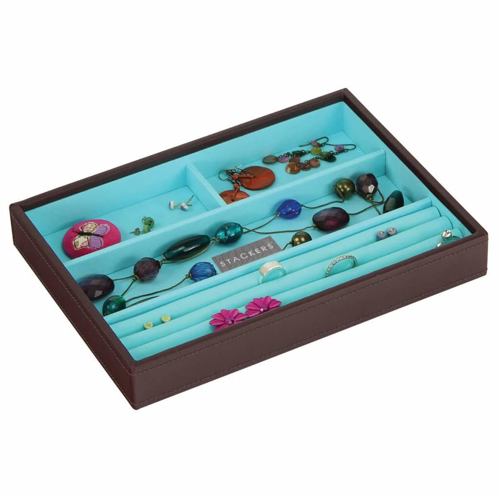 Sieradendoos Chocolate Brown Classic 4-vaks voor ringen en armbanden