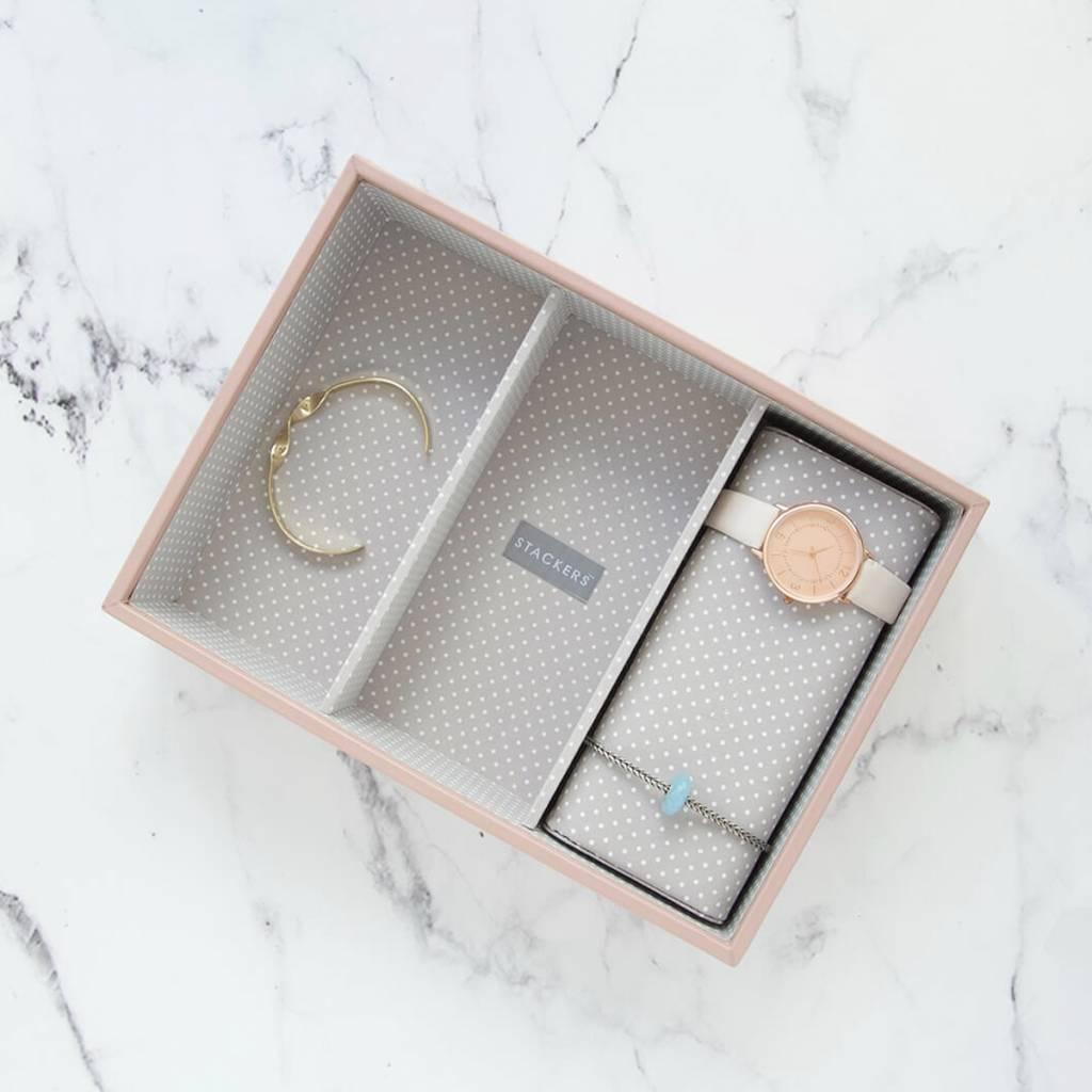 Sieradendoos Soft Pink Classic 3-vaks voor horloges/accessoires