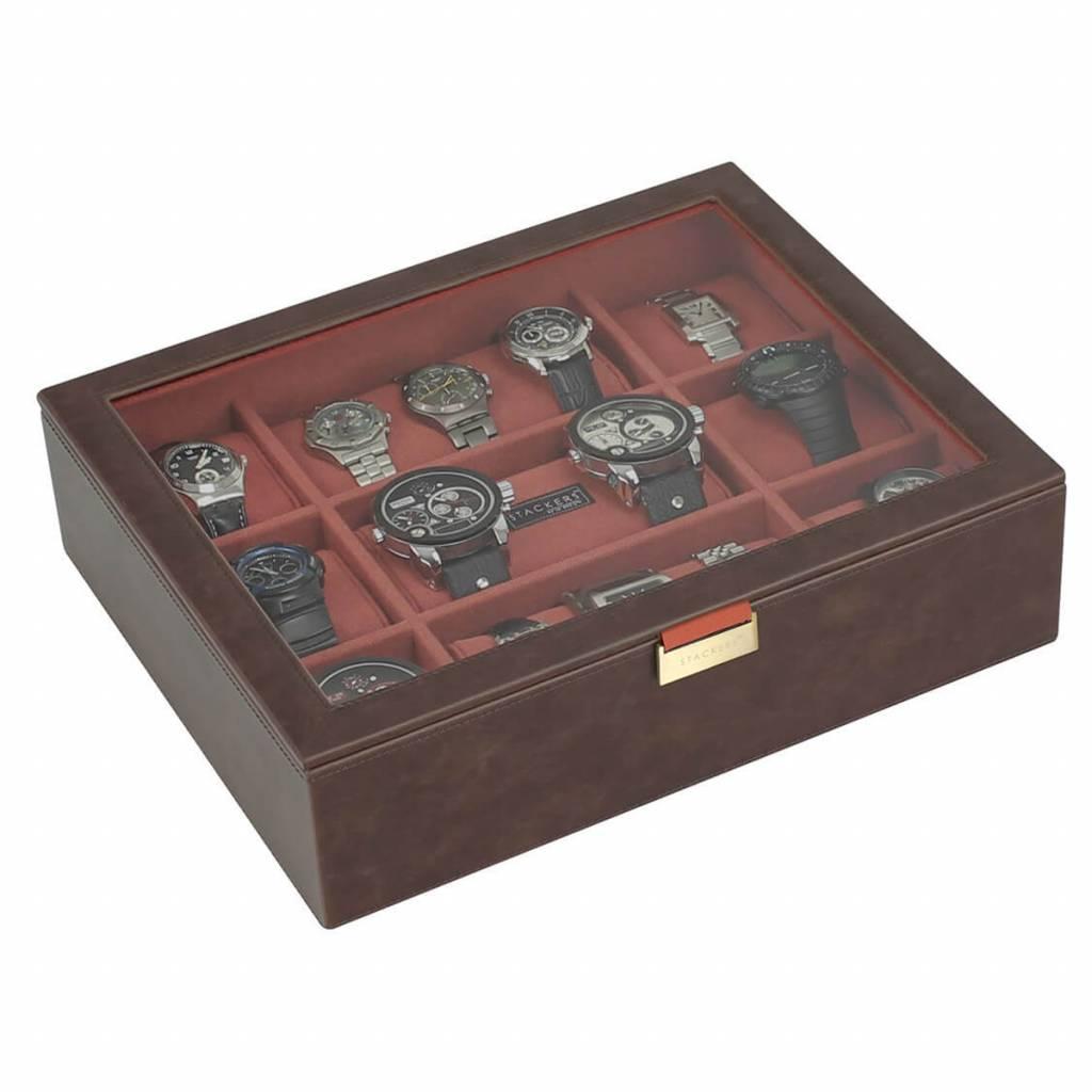 Vintage Brown XL Uhrenbox 15 Stck Deckel
