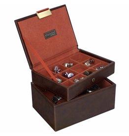 Stackers Vintage Brown Mini Ensemble Boîte de Boutons & Boîte de Montre
